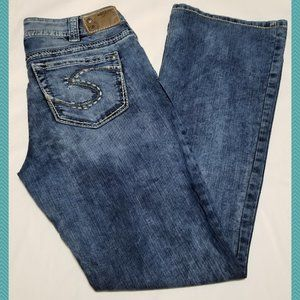 Silver Acid Wash Mid Rise Suki Bootcut Jeans